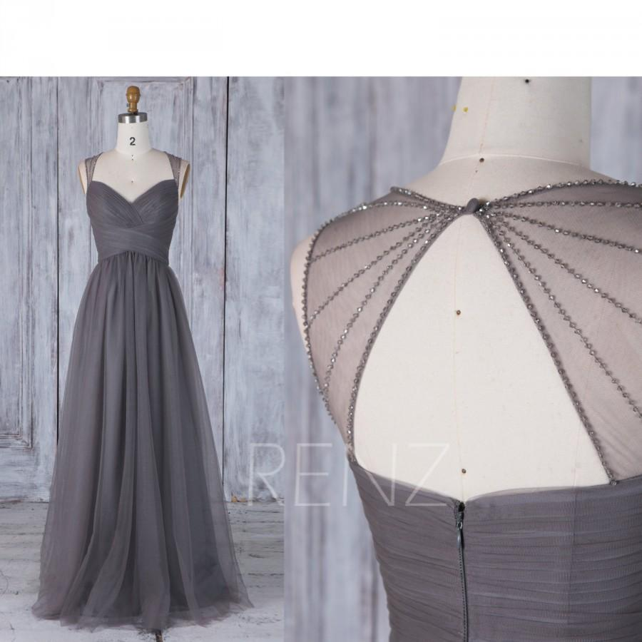 Wedding - 2017 Charcoal Gray Bridesmaid Dress, Ruched Sweetheart Wedding Dress, Bead Back Prom Dress, A Line Evening Gown Floor Length (JS205)