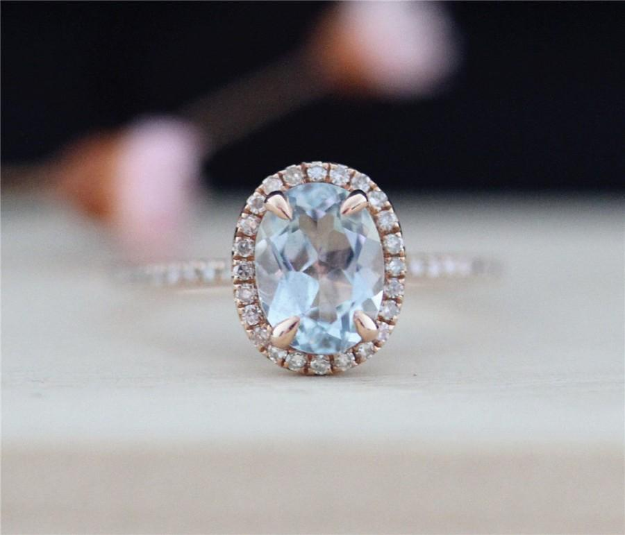 aquamarine diamond ring vs 68mm oval cut 14k rose gold wedding ring aquamarine engagement ring gemstone bridal ring - Wedding Ring Vs Engagement Ring