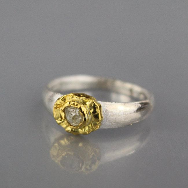 Mariage - Diamond Jewelry, Raw Diamond Engagement Ring, Unique Engagement Ring, Silver and Gold Ring, Raw Stone Engagement Ring, April Birthstone