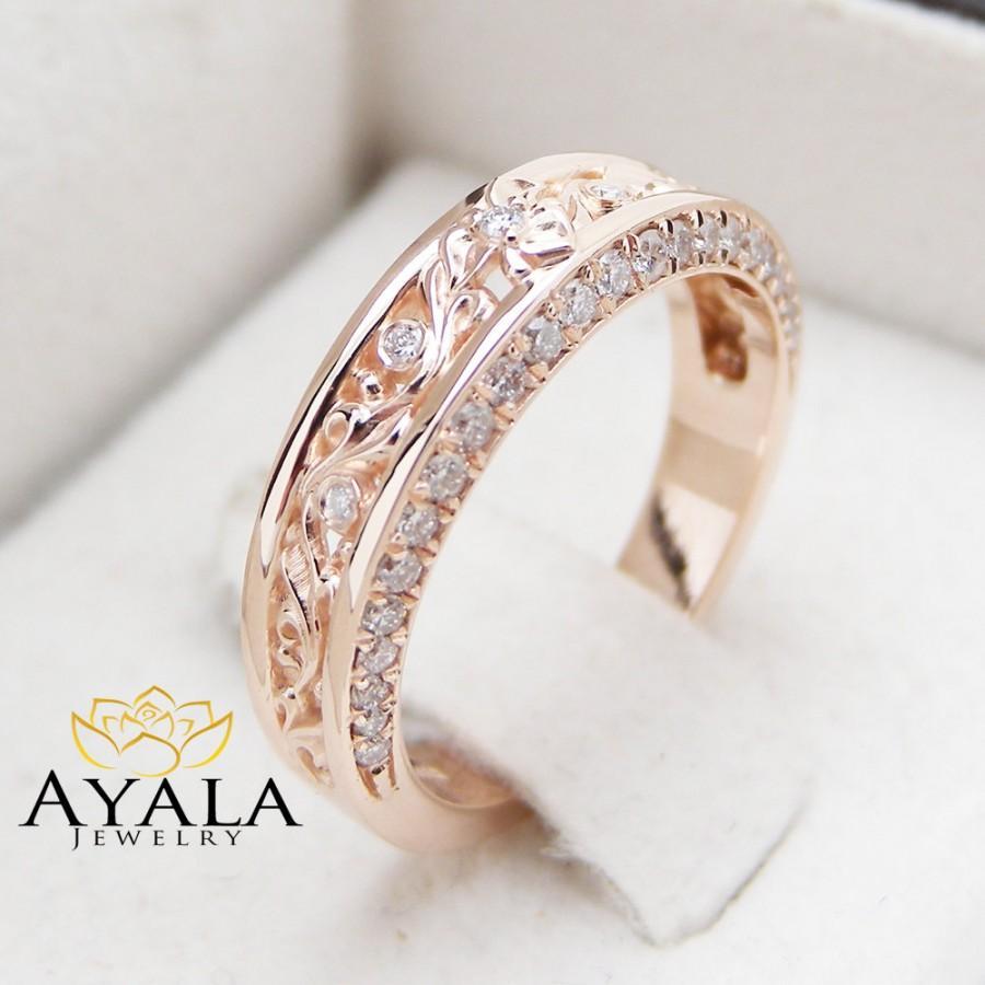 Mariage - Rose Gold Diamond Wedding Band Half Eternity Engagement Band Filigree Wedding Diamond Ring
