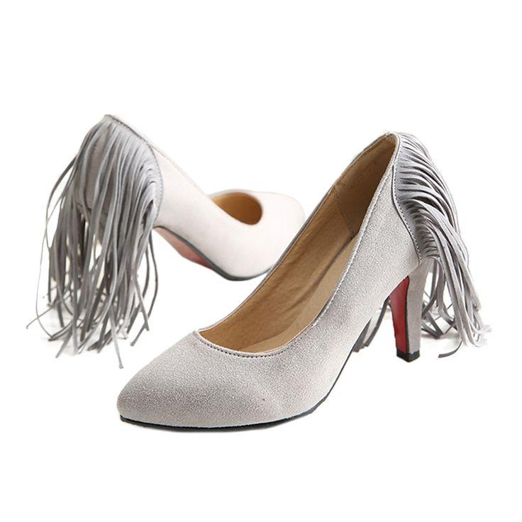 Düğün - Tassel High Heel Women Thin Shoes Fluff Low-cut Wedding Shoes Plus Size Grey 35