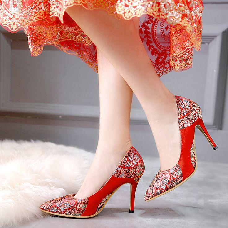 Hochzeit - Pointed Toe Women Pumps High Heels Red Wedding Shoes Woman