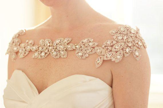 زفاف - Rose Gold Bridal Bolero, Bridal Shoulder Necklace, Shoulder Jewelry, Statement Necklace, Rhinestone Bridal Shoulder Necklace, Abigail Grace