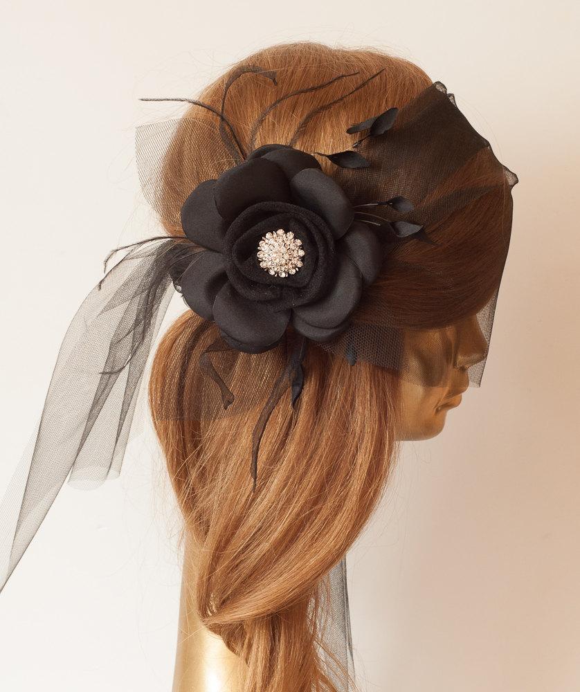 Свадьба - BLACK BIRDCAGE Veil,Tulle with Black Flower and Rhinestone Brooch.Black Veil Fascinator.