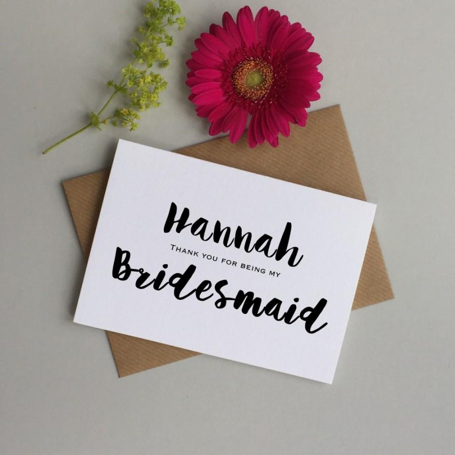 Wedding - Bridesmaid card - Personalised bridesmaid thank you card - Card for Bridesmaid, Maid of honour, flower girl - Bridesmaid thank you card