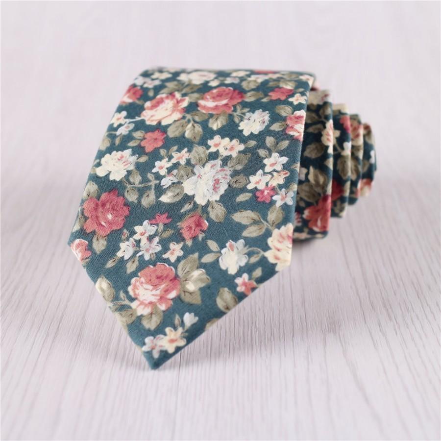 Mariage - green wedding tie.vintage floral tie.designer floral printed necktie for groomsmen tie.groom's flower tie.mens prom tie accessories+nt.229s