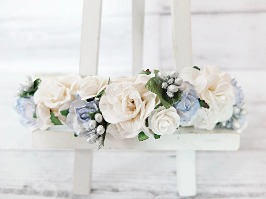 White And Light Blue Wedding Flower Crown Head Wreath Bridesmaid