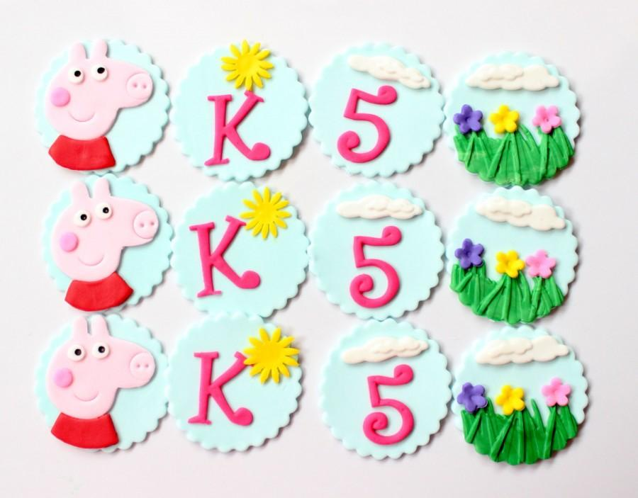 Свадьба - peppa pig cupcake toppers 12pcs edible fondant birthday party favors monogram