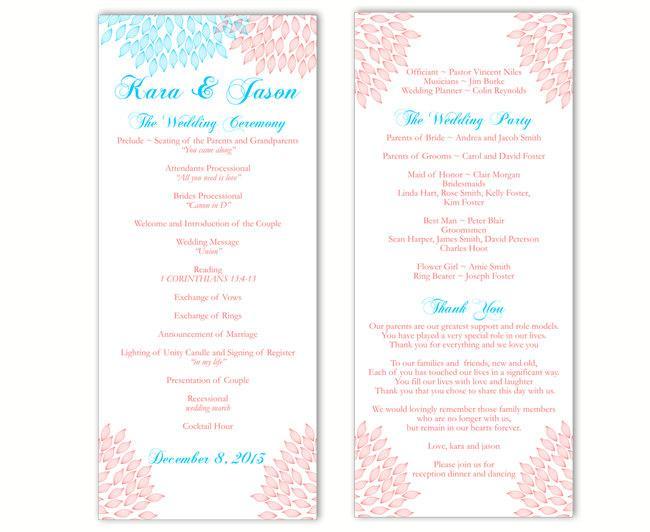 Свадьба - Wedding Program Template DIY Editable Word File Instant Download Program Blue Pink Wedding Program Floral Program Printable Program 4x9.25 - $8.00 USD