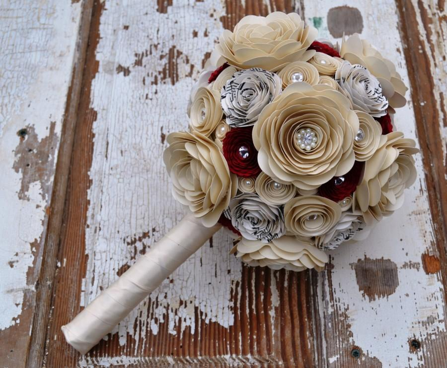 Wedding - Romantic Pearls and Crystals Custom Paper Flower Wedding Bouquet