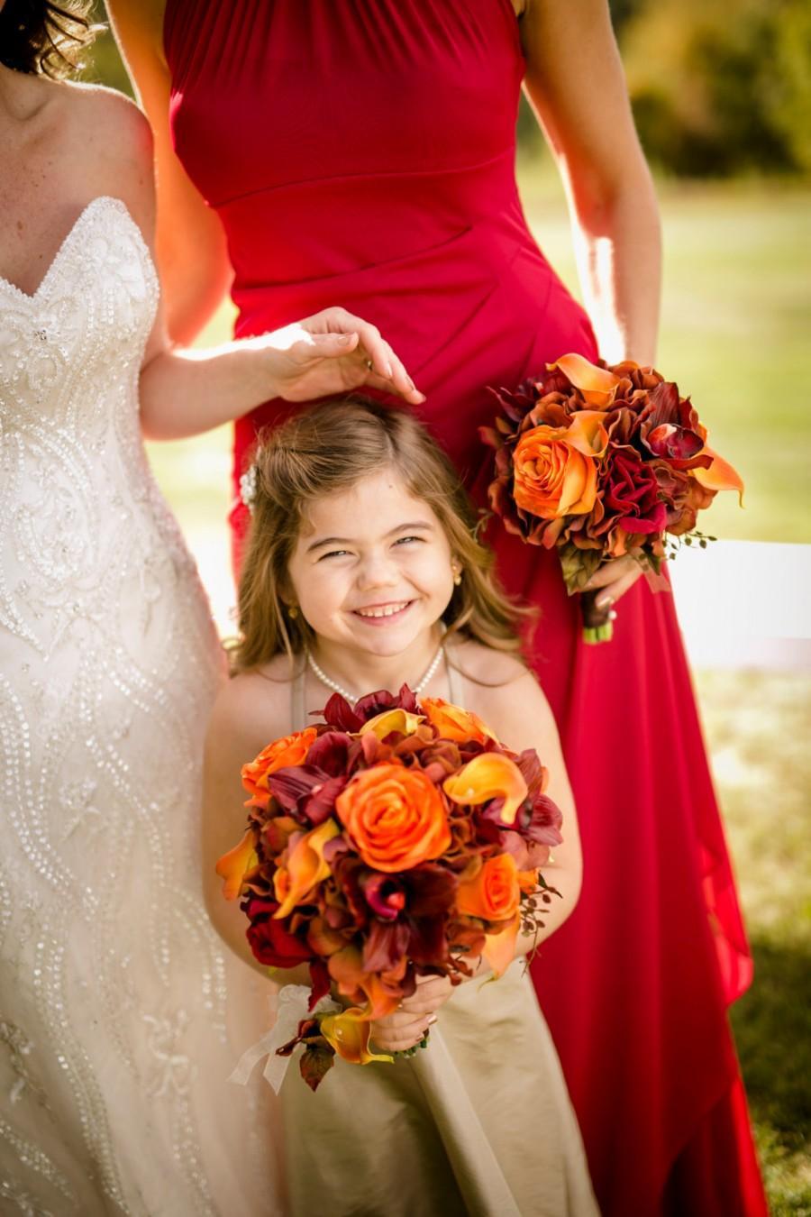 Свадьба - Autumn bouquet, Wedding bouquet - Fall bouquet, Bride bouquet - Red and orange silk wedding flowers