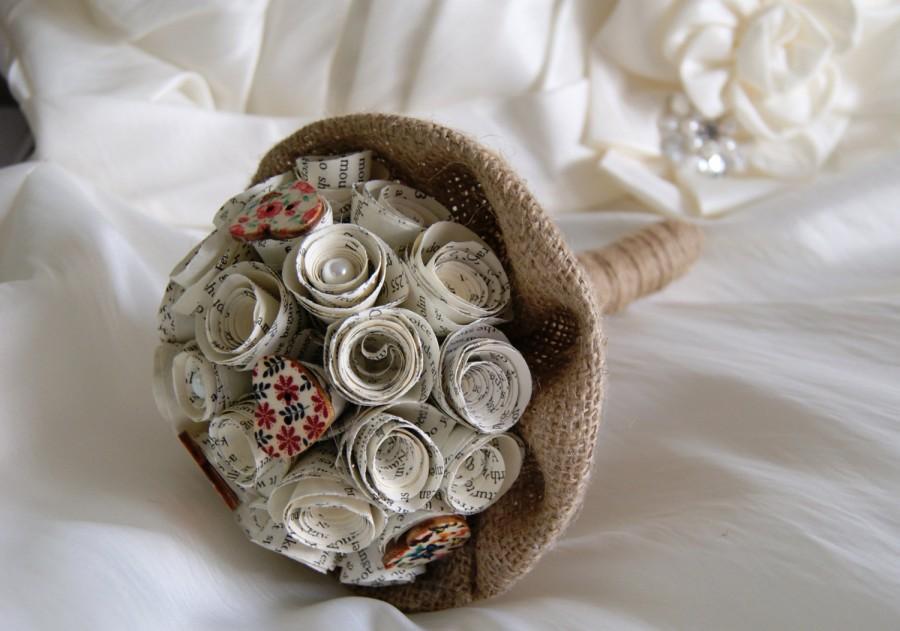 Свадьба - Paper flower wedding bouquet - VIntage, rustic - Vintage book bridesmaids bouquet