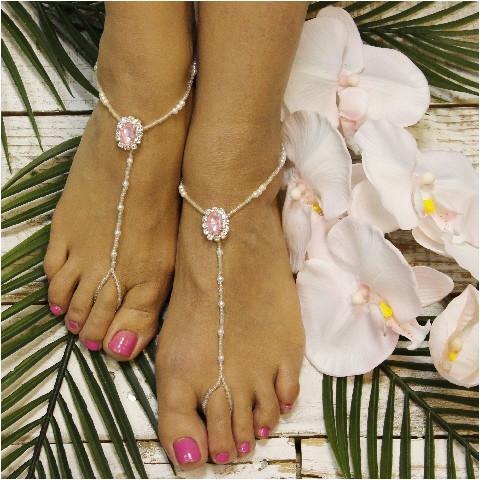 Wedding - PINK beaded barefoot sandals