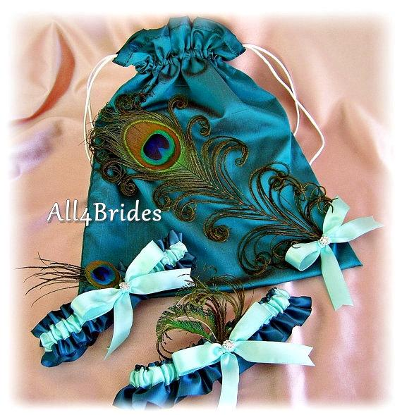 Boda - Peacock Weddings Bridal Garters and Drawstring Bag Teal and Aqua - Peacock Feathers Bridal Accessories - Something Blue - Peacock Weddings