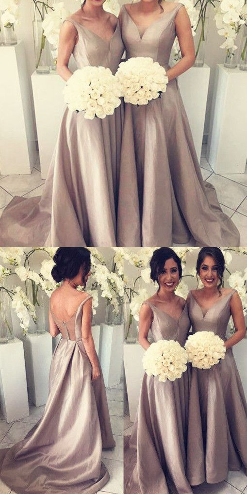 Mariage - Simple Bridesmaid Dress - Silver V