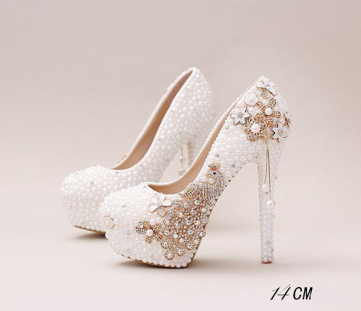 Mariage - Handmade High Heels Round Toe Pearls Crystal Wedding Shoes, S0038