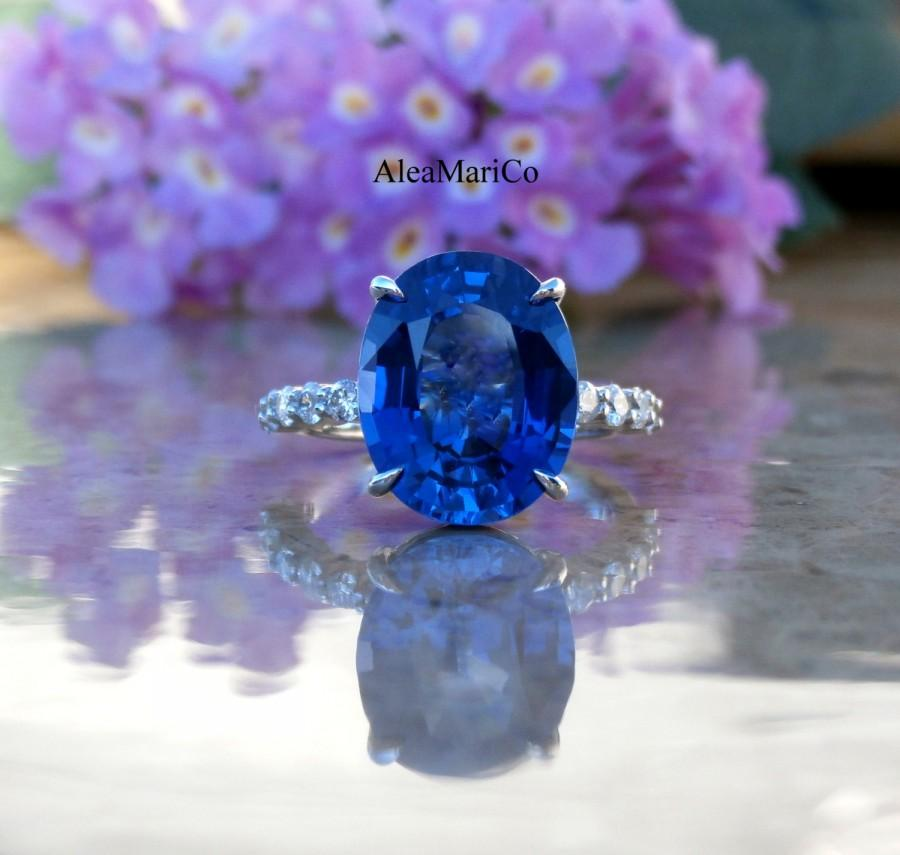 Mariage - Sapphire Engagement Ring, Sapphire and Diamond Ring, Blue Sapphire Ring, 14kt, IN STOCK