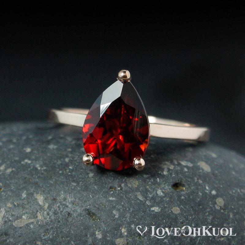 Свадьба - Teardrop Red Garnet Engagement Ring – Choose Your Setting