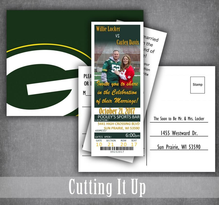 Hochzeit - Football Ticket Invitations, Football Wedding Invitation Set, Sport Wedding, Football Theme, Green Bay Packers, Oregon Ducks, NFL, Party
