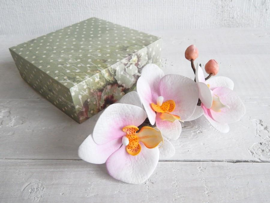 Wedding - Orchid hair clip, Floral hairclip, Tropical flowers, White hair comb, Floral headpiece, Beach wedding, Flower haircomb, Phalaenopsis clip - $22.00 USD