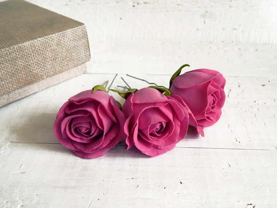 Свадьба - Dark pink hair pins, Bridal headpiece, Fuchsia small flowers, Wedding hairpins, Floral hairpiece, Pink roses, Bridal hair pins, Pink wedding - $16.00 USD