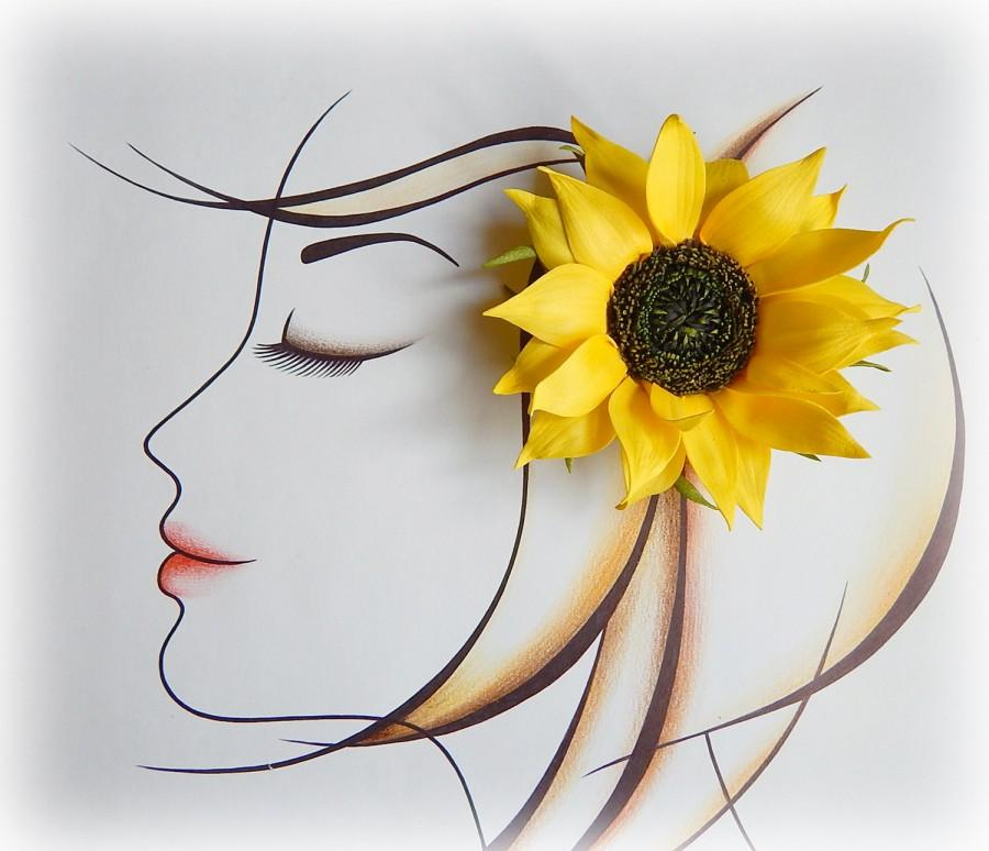 Mariage - Sunflower hair clip, Floral barrette, Large flowers, Big yellow flower, Bridal hair comb, Yellow wedding, Hair barrette, fascinator, Pins - $20.00 USD