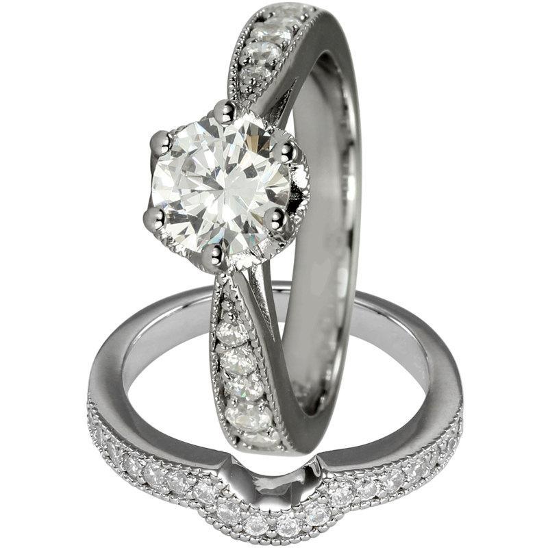 زفاف - Bridal Sets Diamonds In Engagement Rings With Matching Wedding Band 14K Gold