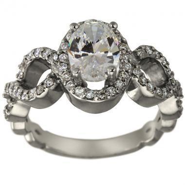 زفاف - Oval Engagement Ring 1 1/4ct Oval Diamond In Engagement Ring With Halo Ring 14K