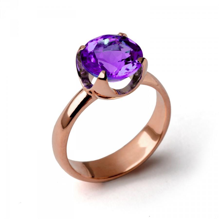 زفاف - CUP Amethyst Engagement Ring, Purple Amethyst Ring, Rose Gold Amethyst Ring, Amethyst Promise Ring, Large Amethyst Ring