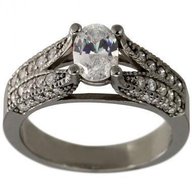 زفاف - Oval Shape Diamond Engagement Ring 1 Ct In 14K White Gold Pave Diamond Ring