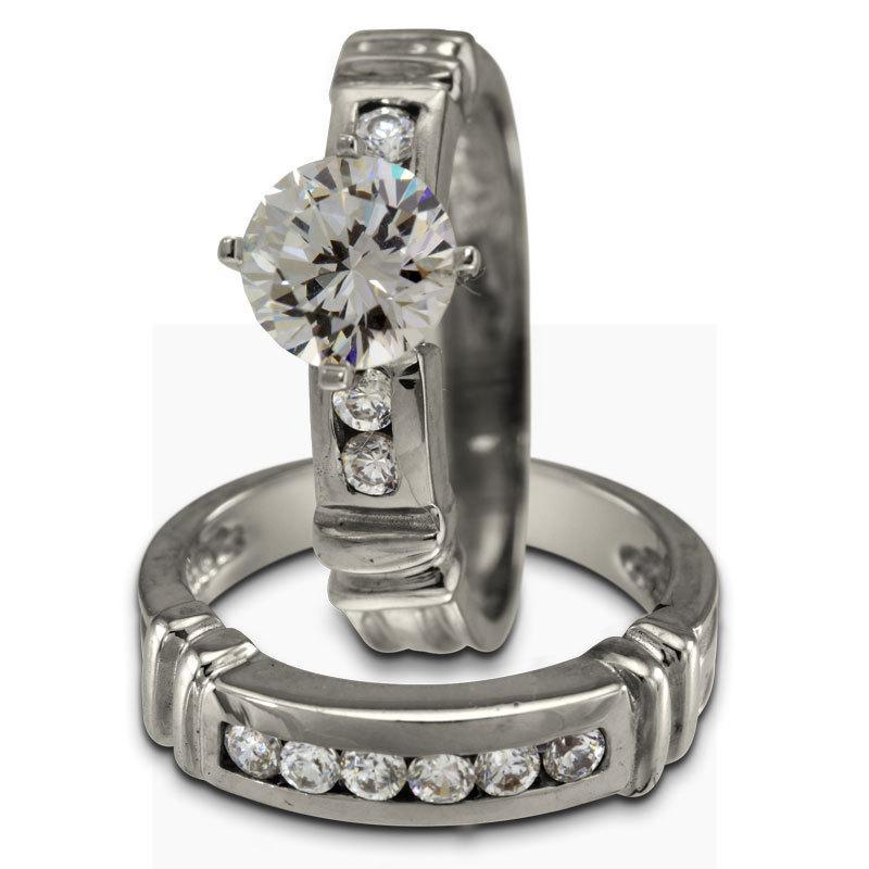زفاف - Engagement Ring Bridal Set With 1 Carat And Matching Channel Diamond Band 14K