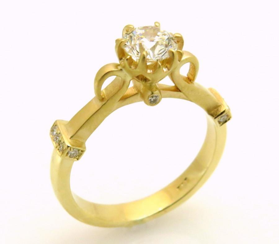 زفاف - Unique diamond engagement ring, Vintage diamond ring, Round diamond engagement ring, Antique engagement ring, 14k gold engagement ring