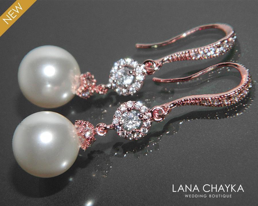 زفاف - Pearl Bridal Earrings White Pearl Rose Gold Wedding Earrings Swarovski 10mm Pearl Drop CZ Earrings Pearl Dangle Earrings Bridesmaids Jewelry - $32.90 USD