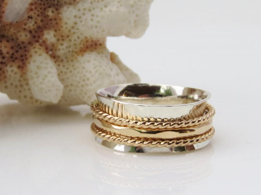 Mariage - Gold Band, Spinner Ring, Sterling Silver Band, Meditation Ring, Wedding Ring, Celtic Ring, Silver Gold Ring,