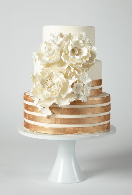 Wedding - Cake With Copper Stripes And Flowers - A Glamorous Ivory Cake With Copper Stripes And Flowers