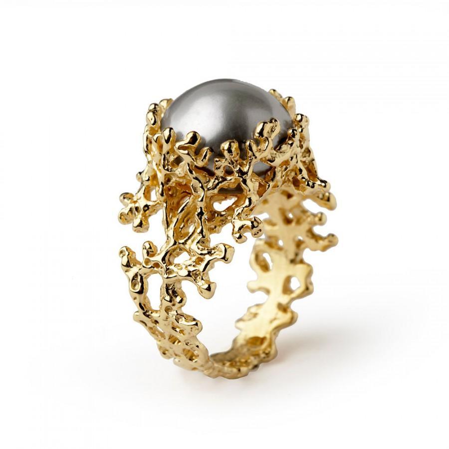 زفاف - CORAL Gray Pearl Ring, Gray Pearl Engagement Ring,  Gold Pearl Ring, 14k Gold Engagement Ring, Unique Engagement Ring, Organic Gold Ring