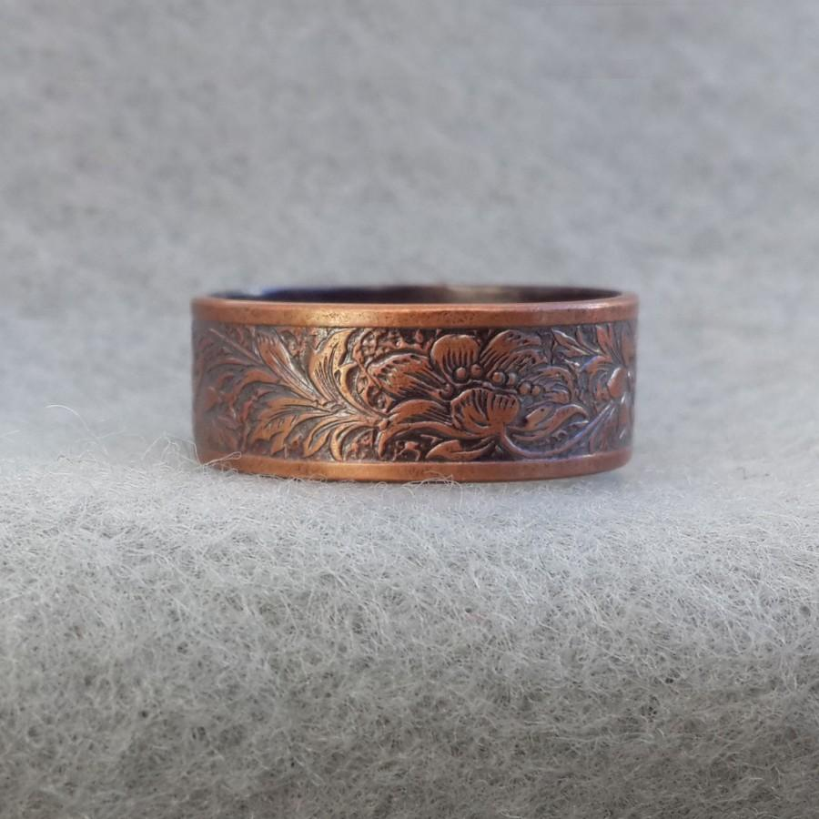 Mariage - Art Nouveau Romantic Copper Wedding Ring, floral jungle ring, antique style band, his and her hippie ring, shiny, oxidized 5.5 ready to ship