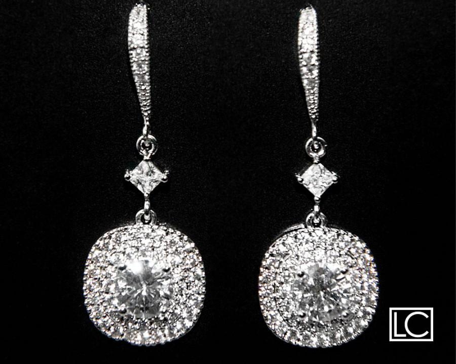 Wedding - Cubic Zirconia Bridal Earrings Chandelier Silver CZ Wedding Earrings Clear Cubic Zirconia Dangle Earrings Wedding Cubic Zirconia Jewelry - $31.00 USD