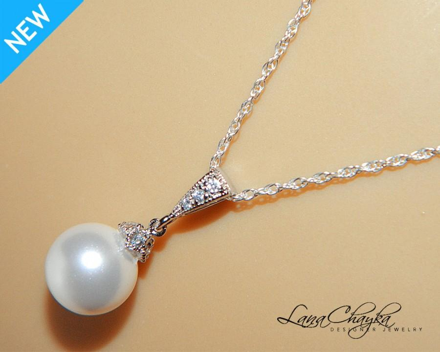 b260fbb45f587 White Drop Pearl Necklace Sterling Silver CZ Pearl Bridal Necklace ...