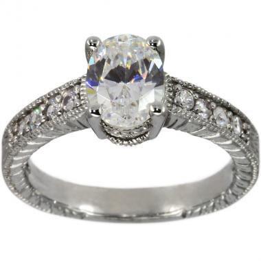 Mariage - Diamond Engagement Ring 1.25ct Oval Diamond With Milgrain Details 14k White Gold