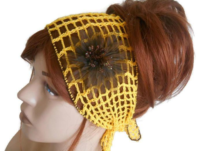 Boda - Festival Head band, Yellow Gypsy Head band, Women Knit Head band, Crochet Headband, Yellow Knit Hair Band, Turban Woman, Head band for Women