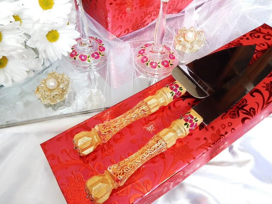 Boda - Wedding Cake Knife, Wedding Cake Server Set, Gold Wedding Cutting Set, Wedding Knife Set, Gold Cake Server Cutter Cake wedding Decoration
