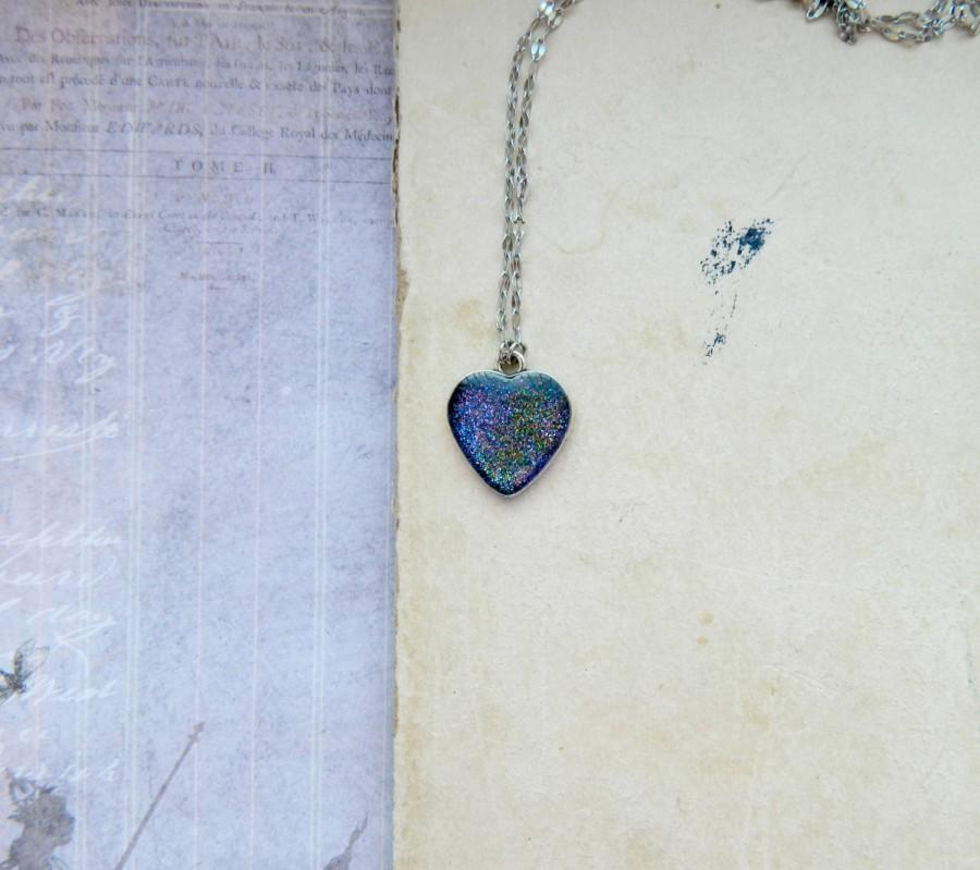 Mariage - Heart Pendant  Heart Necklace Galaxy Necklace Space Necklace Blue necklace Galaxy jewelry astronomy gift for birthday Space choker universe