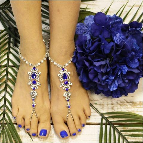 Wedding - SAPPHIRE - wedding barefoot sandals - blue