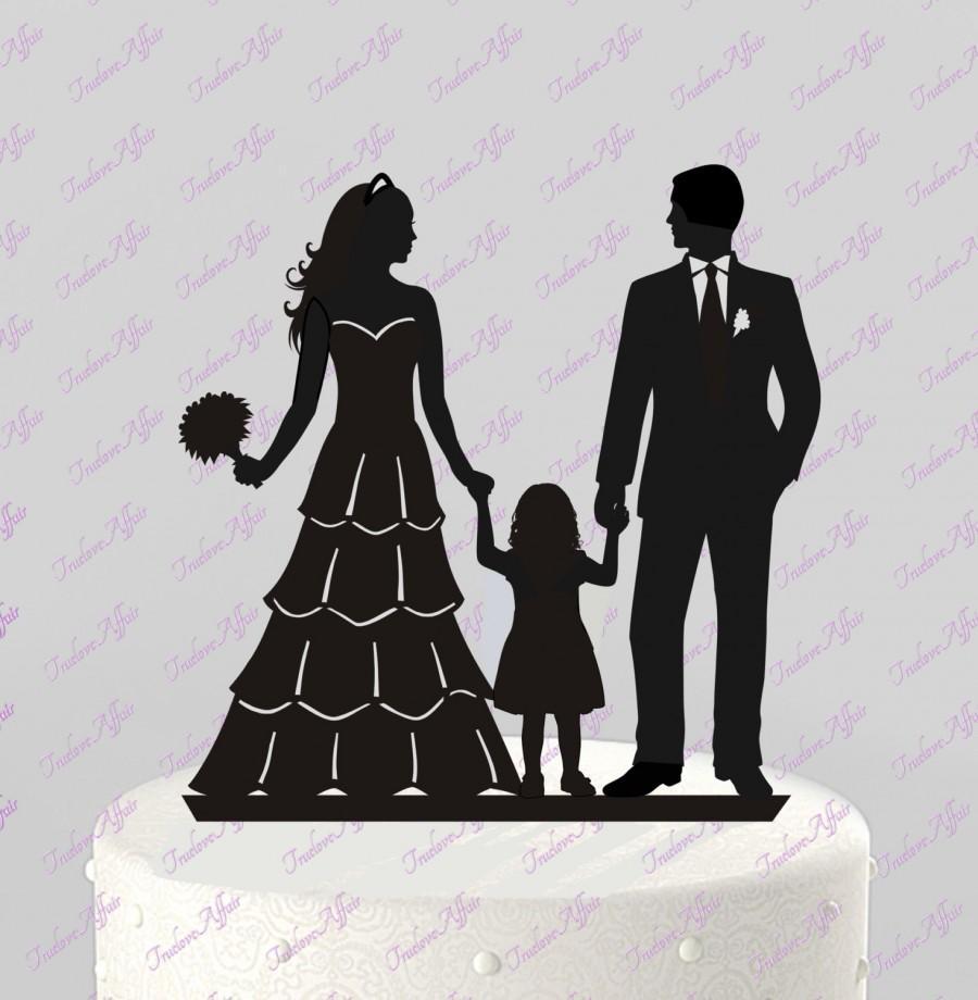Wedding Bride /& Groom Silhouette with Kid Acrylic Wedding Cake Topper Black