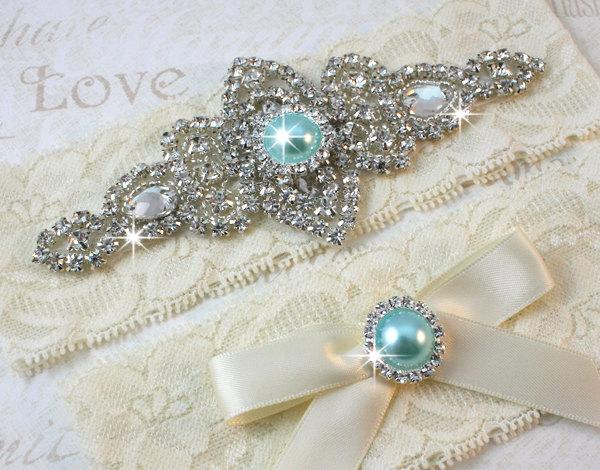 Boda - SALE - Best Seller - CHLOE II - Aqua Blue Wedding Garter Set, Wedding Lace Garter, Rhinestone Bridal Garters, Something Blue