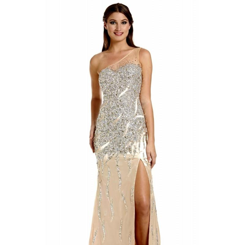 Wedding - Silver/Gold Asymmetrical Embellished Gown by Temptations - Color Your Classy Wardrobe