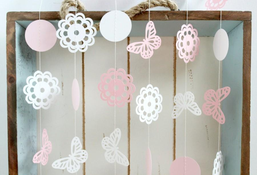pink and white butterfly doily 10 ft paper garland wedding birthday bridal shower baby shower party decorations garden party