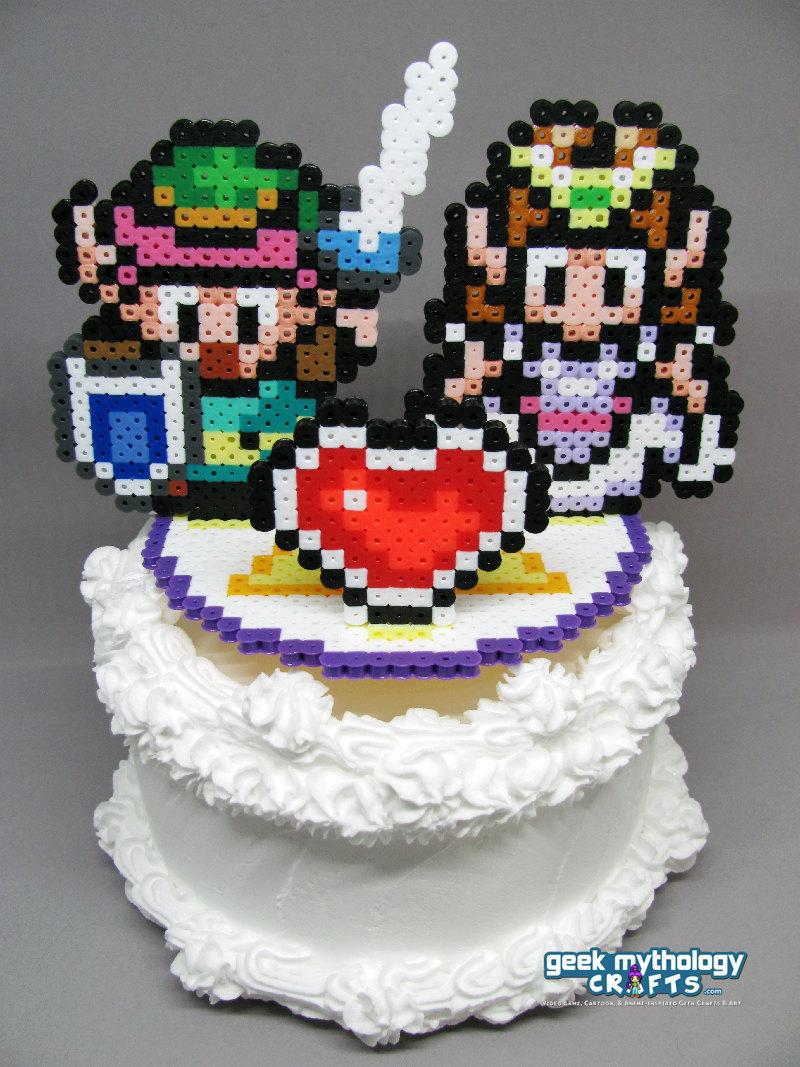 "Wedding - Legend of Zelda - Link to the Past Cake Topper with 5.25"" Round Base"