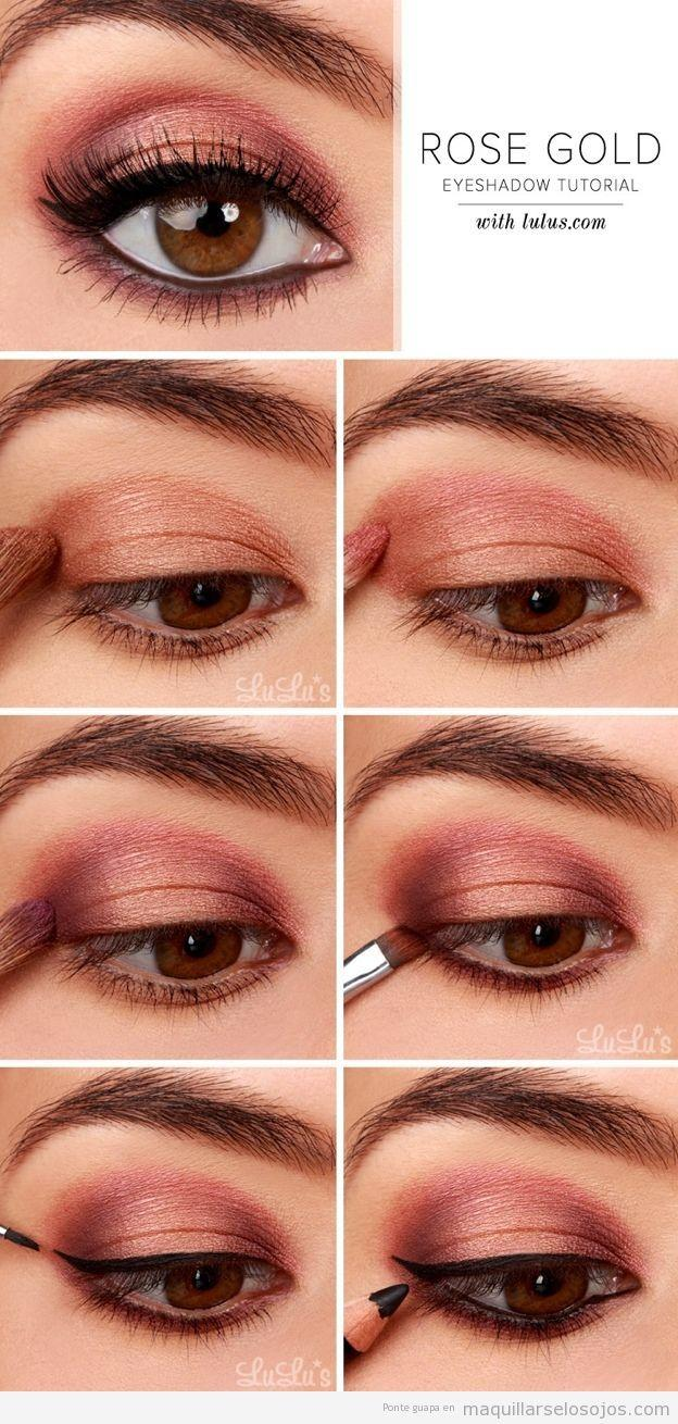 Boda - Sombra De Ojos En Rosa-dorado, Maquillaje De Ojos Paso A Paso